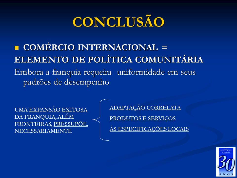 CONCLUSÃO COMÉRCIO INTERNACIONAL = COMÉRCIO INTERNACIONAL = ELEMENTO DE POLÍTICA COMUNITÁRIA Embora a franquia requeira uniformidade em seus padrões d