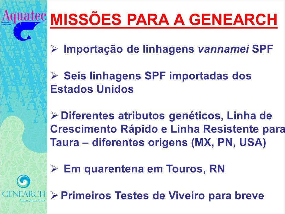MISSÕES PARA A GENEARCH Importação de linhagens vannamei SPF Seis linhagens SPF importadas dos Estados Unidos Diferentes atributos genéticos, Linha de
