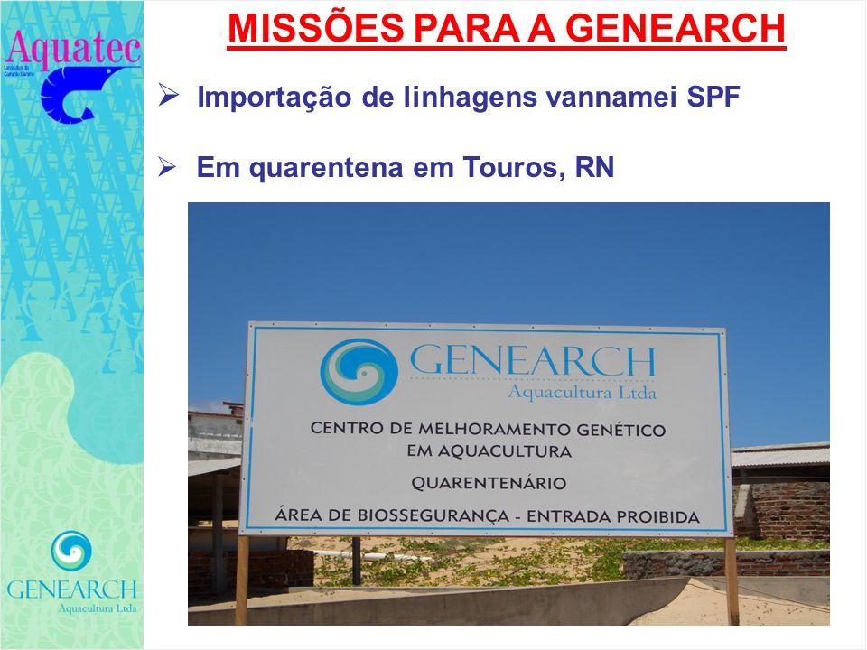 MISSÕES PARA A GENEARCH Importação de linhagens vannamei SPF Em quarentena em Touros, RN