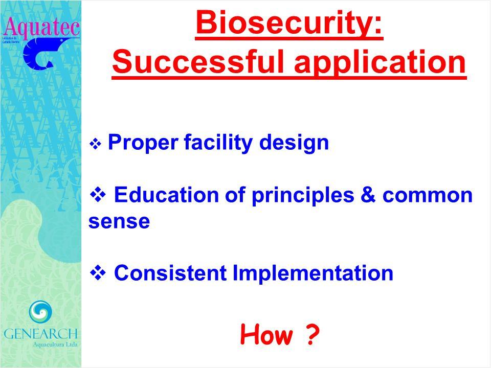 Proper facility design Education of principles & common sense Consistent Implementation Biosecurity: Successful application How ?