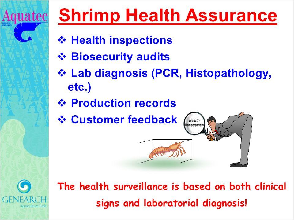 Health inspections Biosecurity audits Lab diagnosis (PCR, Histopathology, etc.) Production records Customer feedback Shrimp Health Assurance The healt