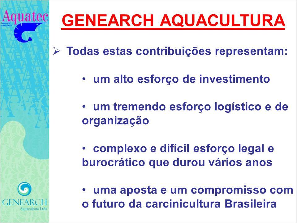 GENEARCH AQUACULTURA Todas estas contribuições representam: um alto esforço de investimento um tremendo esforço logístico e de organização complexo e