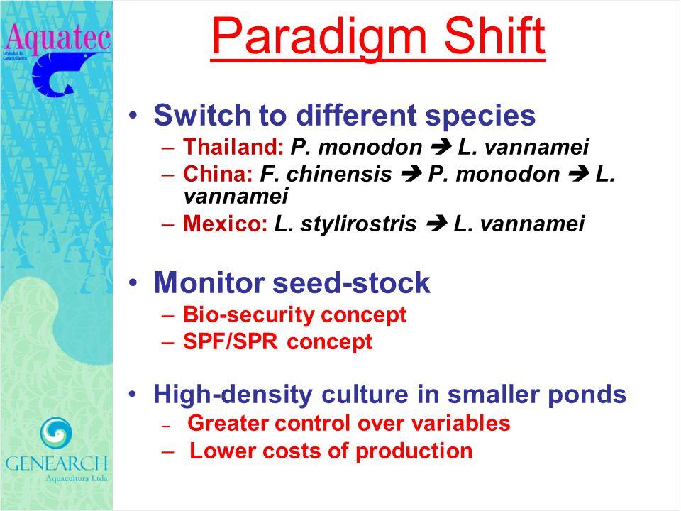 Paradigm Shift Switch to different species –Thailand: P. monodon L. vannamei –China: F. chinensis P. monodon L. vannamei –Mexico: L. stylirostris L. v