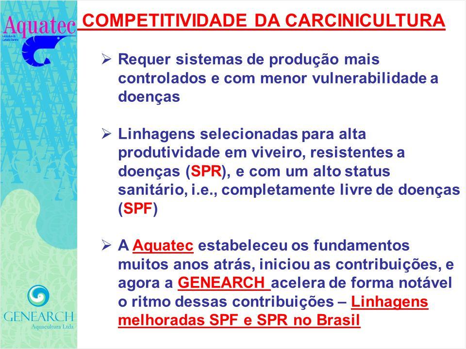 COMPETITIVIDADE DA CARCINICULTURA Requer sistemas de produção mais controlados e com menor vulnerabilidade a doenças Linhagens selecionadas para alta
