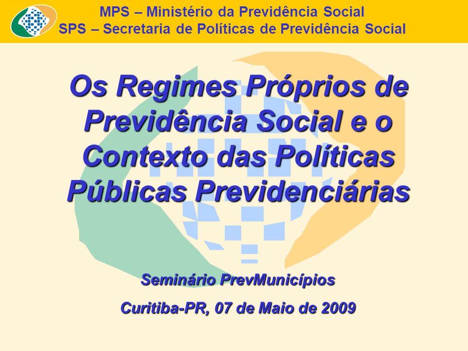 Resultado Operacional e Investimentos dos RPPS no Brasil – 2007-2008 Resultado Operacional dos RPPS – 2007 (R$) ReceitasDespesasResultado 57.137.838.491,7654.628.067.658,732.509.770.803,03 Total dos Investimentos dos RPPS (R$) Outubro 2007Abril 2008Outubro 2008 32.635.602.948,3334.520.593.864,3536.640.237.888,50 Fonte: SPS/MPS Elaboração: SPS/MPS