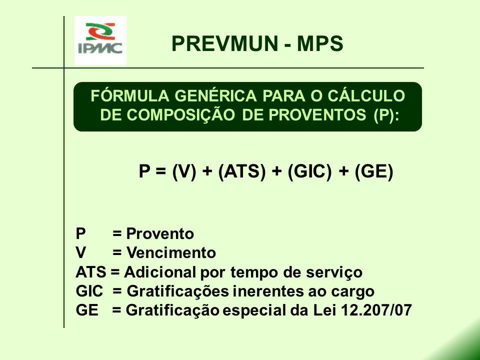 P = (V) + (ATS) + (GIC) + (GE) P = Provento V = Vencimento ATS = Adicional por tempo de serviço GIC = Gratificações inerentes ao cargo GE = Gratificaç