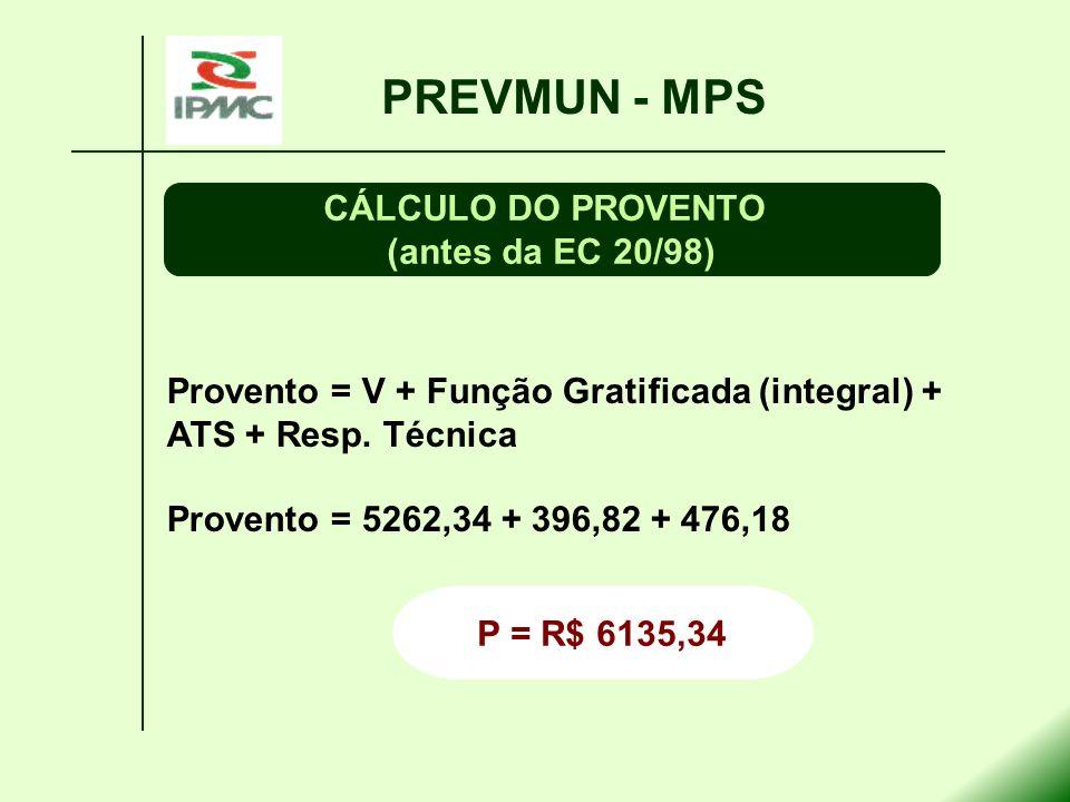 Provento = V + Função Gratificada (integral) + ATS + Resp. Técnica Provento = 5262,34 + 396,82 + 476,18 PREVMUN - MPS CÁLCULO DO PROVENTO (antes da EC