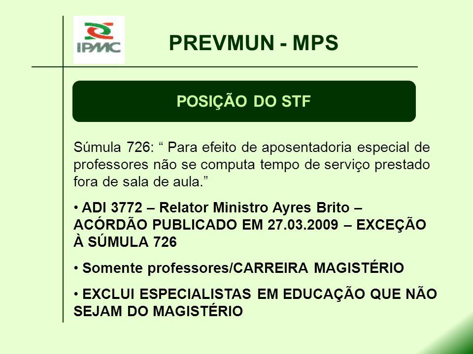 PREVMUN - MPS POSIÇÃO DO STF Súmula 726: Para efeito de aposentadoria especial de professores não se computa tempo de serviço prestado fora de sala de