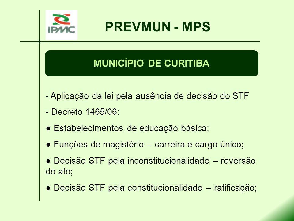PREVMUN - MPS MUNICÍPIO DE CURITIBA - Aplicação da lei pela ausência de decisão do STF - Decreto 1465/06: Estabelecimentos de educação básica; Funções
