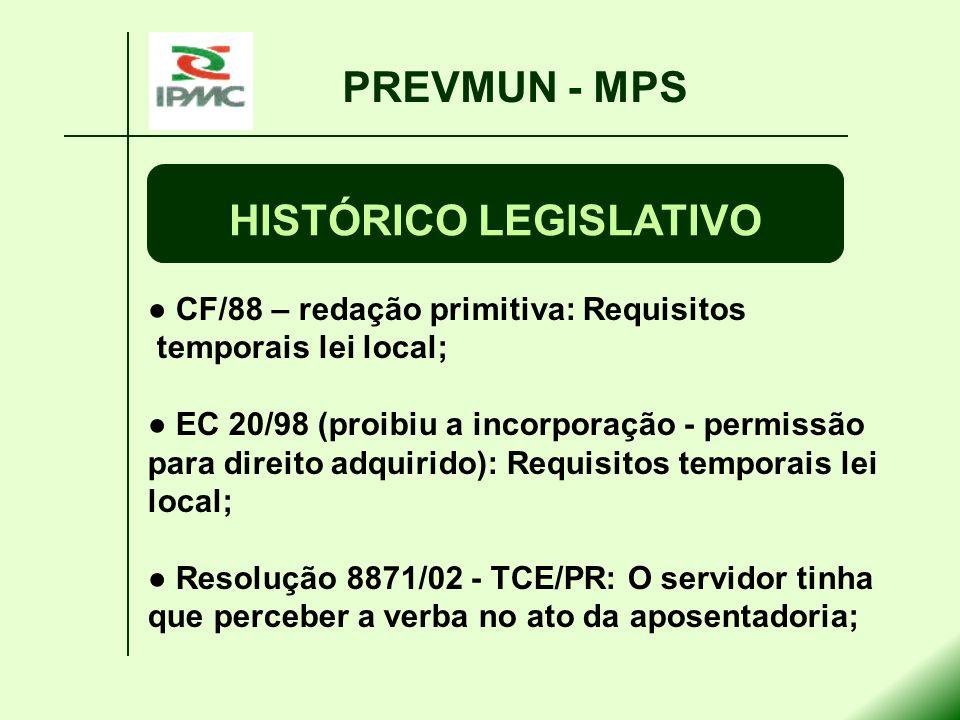 CF/88 – redação primitiva: Requisitos temporais lei local; EC 20/98 (proibiu a incorporação - permissão para direito adquirido): Requisitos temporais