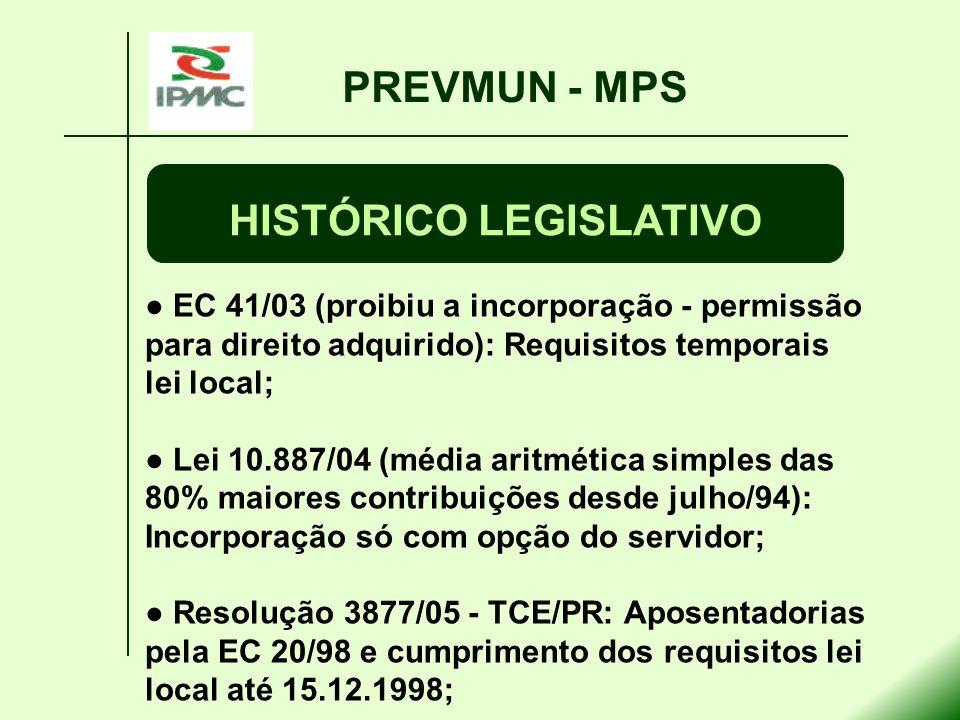 EC 41/03 (proibiu a incorporação - permissão para direito adquirido): Requisitos temporais lei local; Lei 10.887/04 (média aritmética simples das 80%