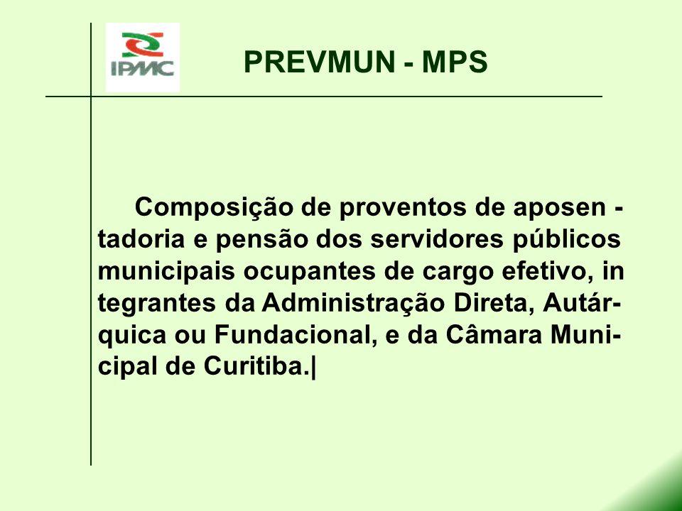 PREVMUN - MPS Composição de proventos de aposen - tadoria e pensão dos servidores públicos municipais ocupantes de cargo efetivo, in tegrantes da Admi