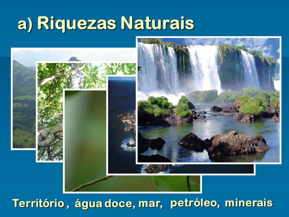 a) Riquezas Naturais Território, água doce, mar, petróleo,minerais