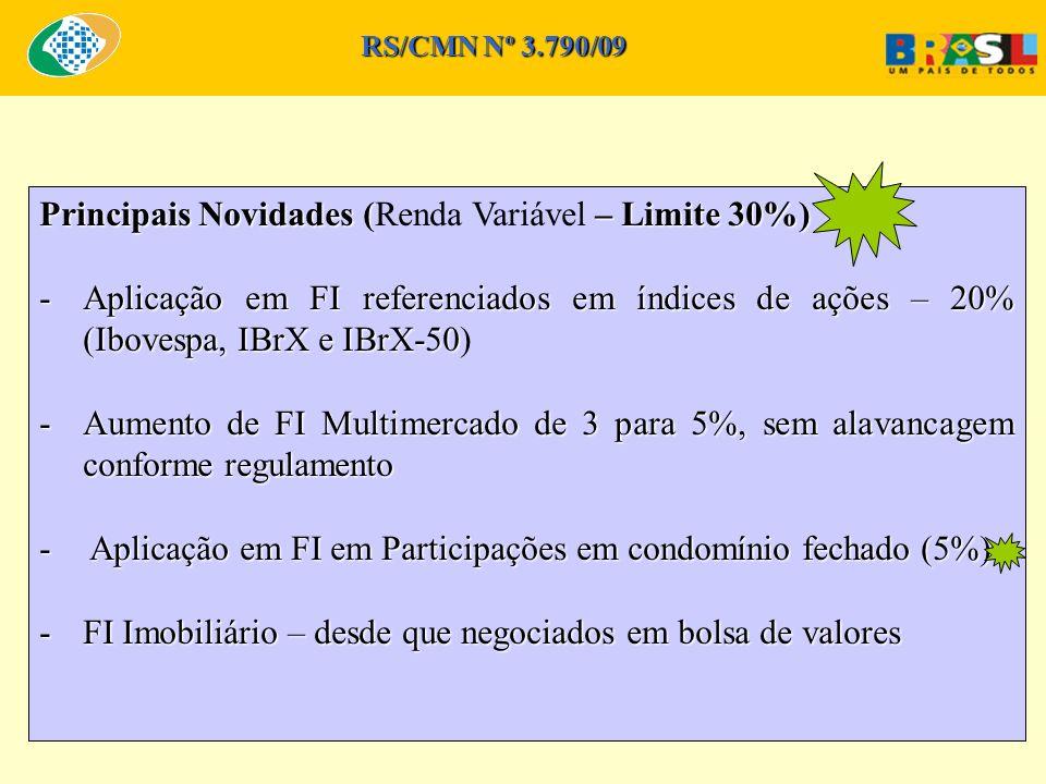 Principais Novidades (– Limite 30%) Principais Novidades (Renda Variável – Limite 30%) -Aplicação em FI referenciados em índices de ações – 20% (Ibovespa, IBrX e IBrX-50 -Aplicação em FI referenciados em índices de ações – 20% (Ibovespa, IBrX e IBrX-50) -Aumento de FI Multimercado de 3 para 5%, sem alavancagem conforme regulamento - Aplicação em FI em Participações em condomínio fechado (5%) -FI Imobiliário – desde que negociados em bolsa de valores RS/CMN Nº 3.790/09