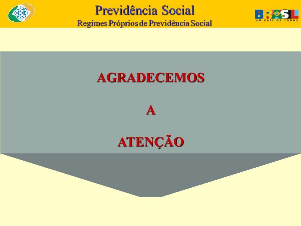 Previdência Social Regimes Próprios de Previdência Social AGRADECEMOSAATENÇÃO