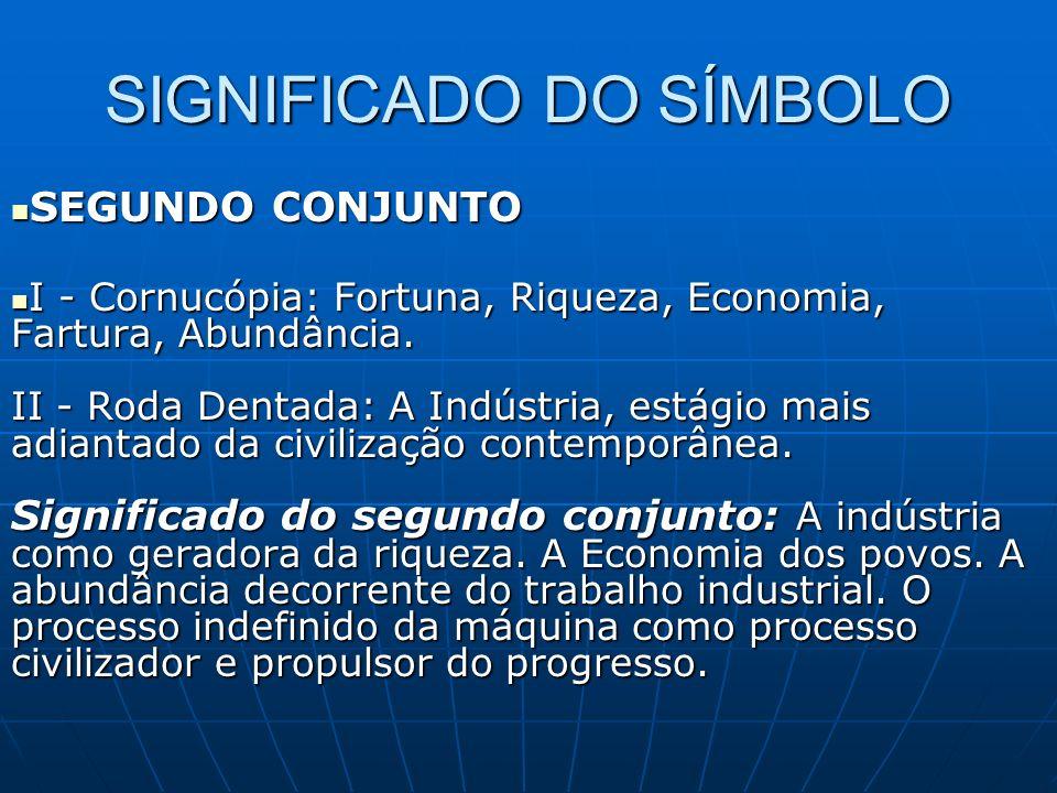 SIGNIFICADO DO SÍMBOLO SEGUNDO CONJUNTO SEGUNDO CONJUNTO I - Cornucópia: Fortuna, Riqueza, Economia, Fartura, Abundância.
