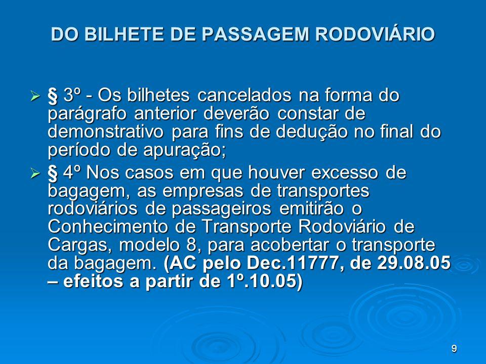 9 DO BILHETE DE PASSAGEM RODOVIÁRIO § 3º - Os bilhetes cancelados na forma do parágrafo anterior deverão constar de demonstrativo para fins de dedução