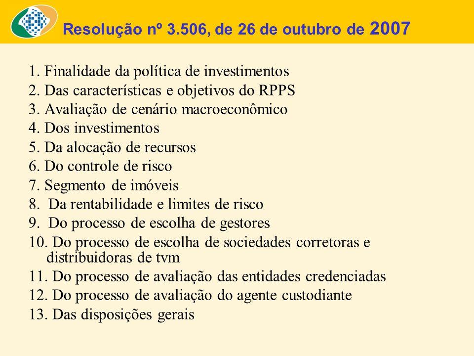 Resolução nº 3.506, de 26 de outubro de 2007 1. Finalidade da política de investimentos 2. Das características e objetivos do RPPS 3. Avaliação de cen