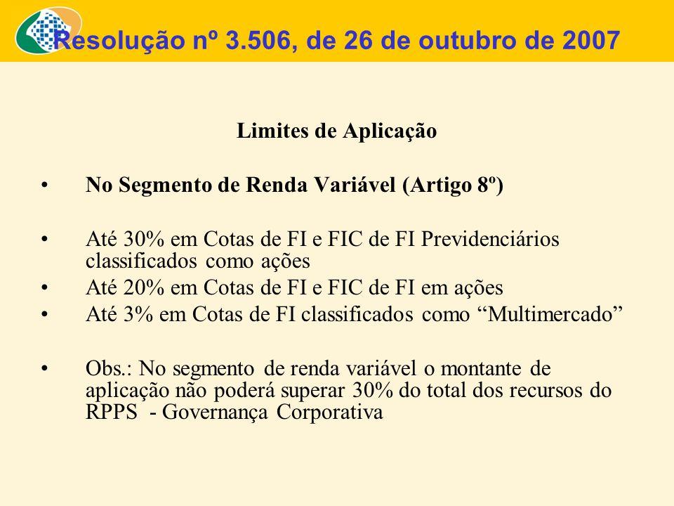 Limites de Aplicação No Segmento de Renda Variável (Artigo 8º) Até 30% em Cotas de FI e FIC de FI Previdenciários classificados como ações Até 20% em