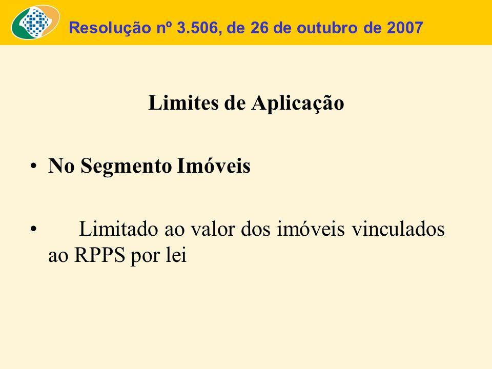 Resolução nº 3.506, de 26 de outubro de 2007 Limites de Aplicação No Segmento Imóveis Limitado ao valor dos imóveis vinculados ao RPPS por lei