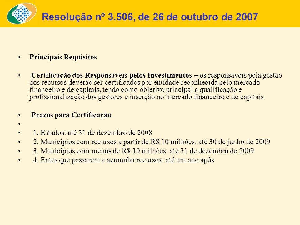 Resolução nº 3.506, de 26 de outubro de 2007 Principais Requisitos Certificação dos Responsáveis pelos Investimentos – os responsáveis pela gestão dos