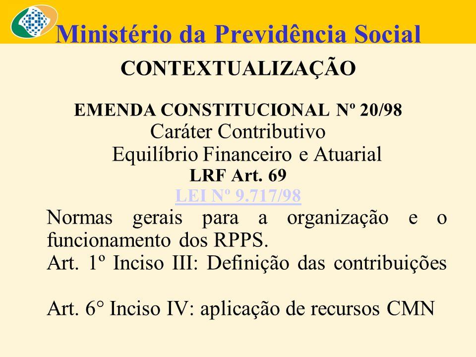 Ministério da Previdência Social CONTEXTUALIZAÇÃO EMENDA CONSTITUCIONAL Nº 20/98 Caráter Contributivo Equilíbrio Financeiro e Atuarial LRF Art. 69 LEI