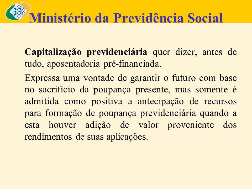 Ministério da Previdência Social Capitalização previdenciária quer dizer, antes de tudo, aposentadoria pré-financiada. Expressa uma vontade de garanti