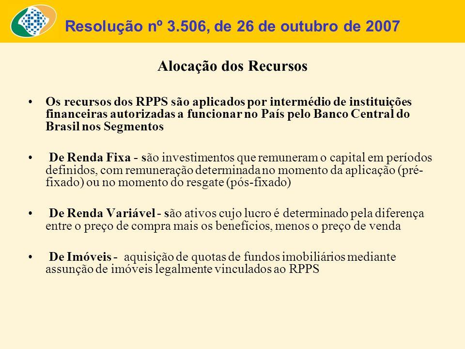 Resolução nº 3.506, de 26 de outubro de 2007 Alocação dos Recursos Os recursos dos RPPS são aplicados por intermédio de instituições financeiras autor