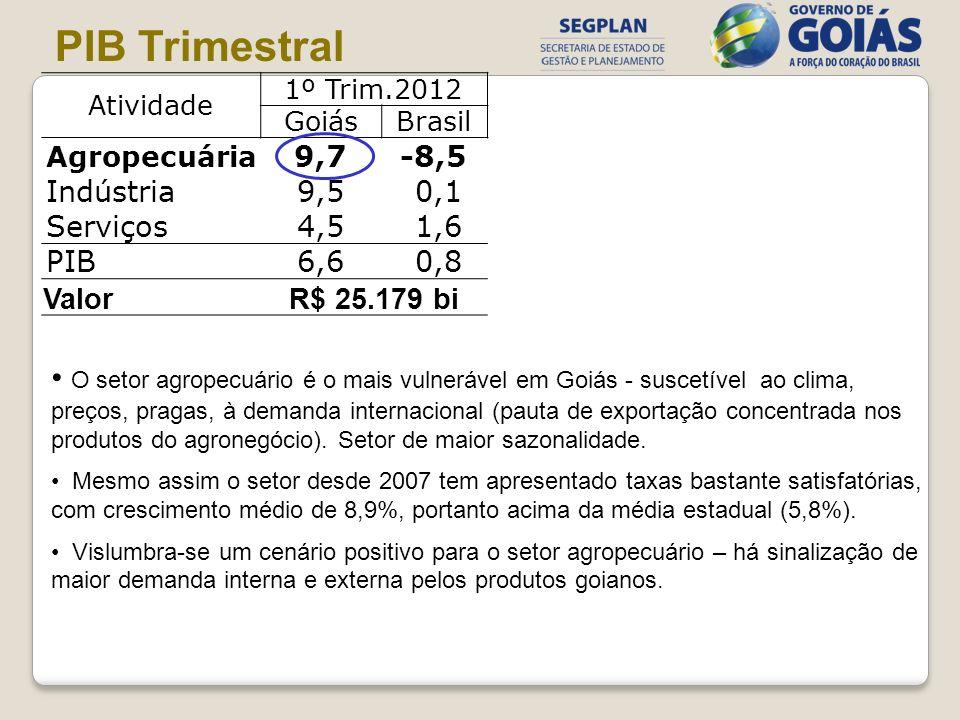 Atividade 1º Trim.2012 GoiásBrasil Agropecuária 9,7-8,5 Indústria9,5 0,1 Serviços4,5 1,6 PIB6,6 0,8 ValorR$ 25.179 bi PIB Trimestral O setor agropecuá