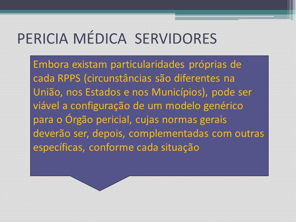 PERICIA MÉDICA x SERVIDORES O que se pode – e inclusive se deve copiar do modelo do RGPS são os conceitos da moderna Perícia Médica Previdenciária, e