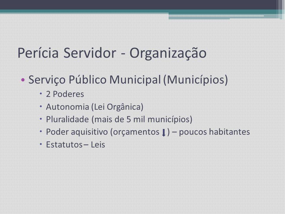 Perícia Servidor - Organização Serviço Público Estadual ( ESTADOS ) 3 Poderes Autonomia p/ regulamentar (Lei própria) Estatutos – vícios e incorreções