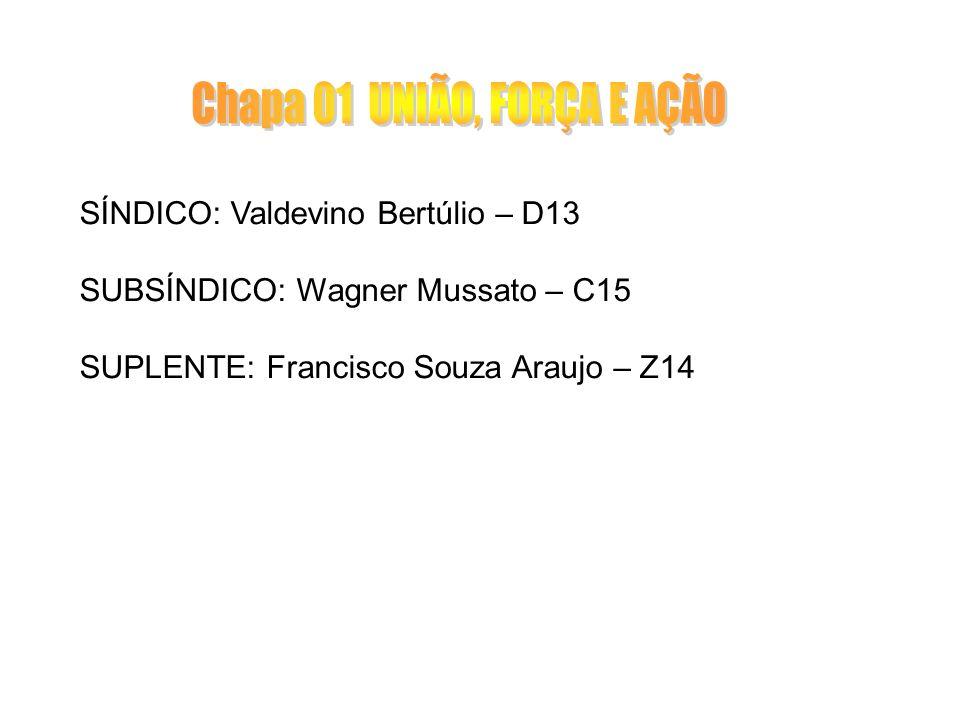 SÍNDICO: Valdevino Bertúlio – D13 SUBSÍNDICO: Wagner Mussato – C15 SUPLENTE: Francisco Souza Araujo – Z14