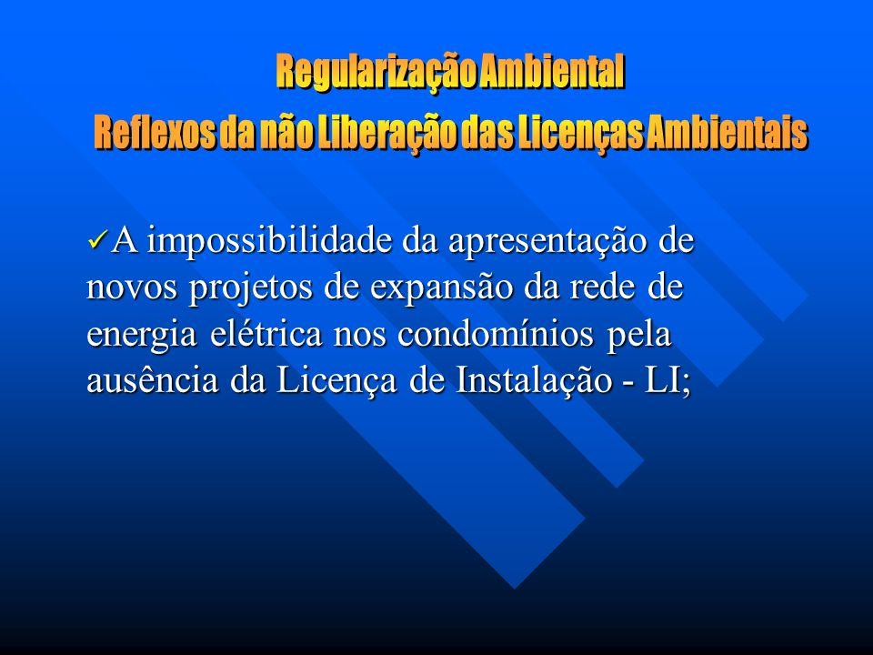 A impossibilidade de dar seguimento ao processo de regularização pela ausência das licenças ambientais; A impossibilidade de dar seguimento ao process