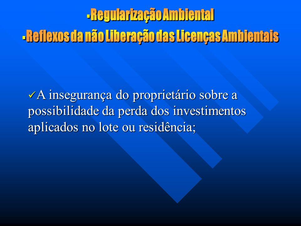 A insegurança do proprietário sobre a possibilidade da perda dos investimentos aplicados no lote ou residência; A insegurança do proprietário sobre a possibilidade da perda dos investimentos aplicados no lote ou residência;