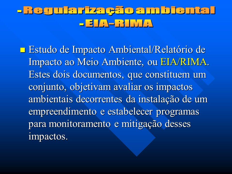 Estudo de Impacto Ambiental/Relatório de Impacto ao Meio Ambiente, ou EIA/RIMA.