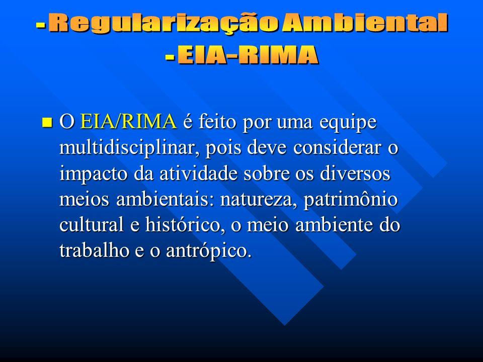 O EIA/RIMA é feito por uma equipe multidisciplinar, pois deve considerar o impacto da atividade sobre os diversos meios ambientais: natureza, patrimônio cultural e histórico, o meio ambiente do trabalho e o antrópico.