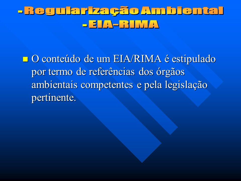 O conteúdo de um EIA/RIMA é estipulado por termo de referências dos órgãos ambientais competentes e pela legislação pertinente.