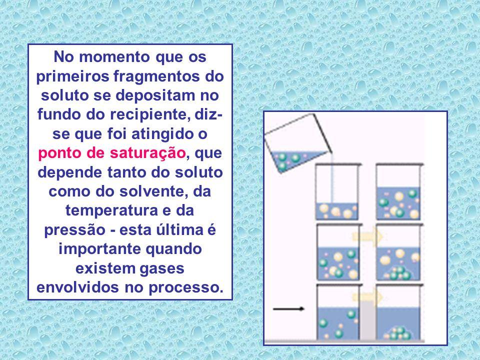 O excesso do soluto - nesta mesma temperatura - vai se depositando no fundo do recipiente e a solução é dita saturada com corpo de fundo. A saturação