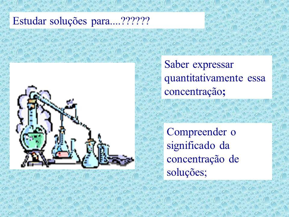 SOLUTO: componente geralmente em menor quantidade. SOLVENTE: componente que recebe o soluto.