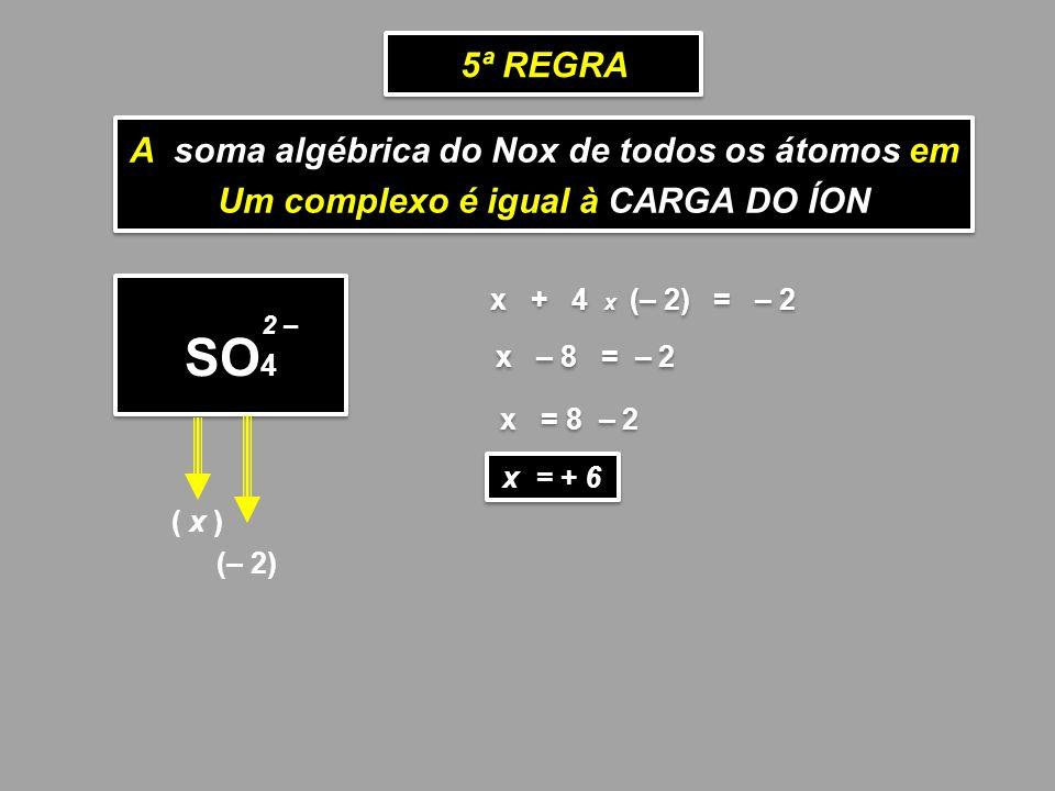A soma algébrica do Nox de todos os átomos em Um complexo é igual à CARGA DO ÍON A soma algébrica do Nox de todos os átomos em Um complexo é igual à C