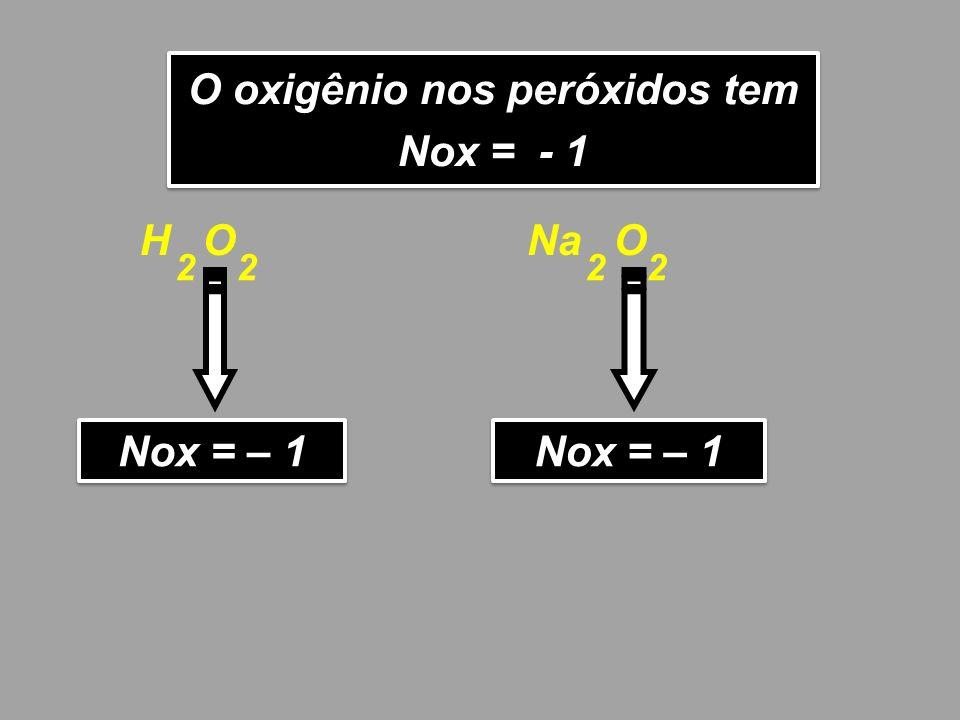 O oxigênio nos peróxidos tem Nox = - 1 O oxigênio nos peróxidos tem Nox = - 1 H O Nox = – 1 22 Na O Nox = – 1 22