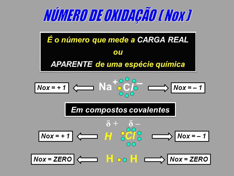 É o número que mede a CARGA REAL ou APARENTE de uma espécie química É o número que mede a CARGA REAL ou APARENTE de uma espécie química Nox = + 1Nox =