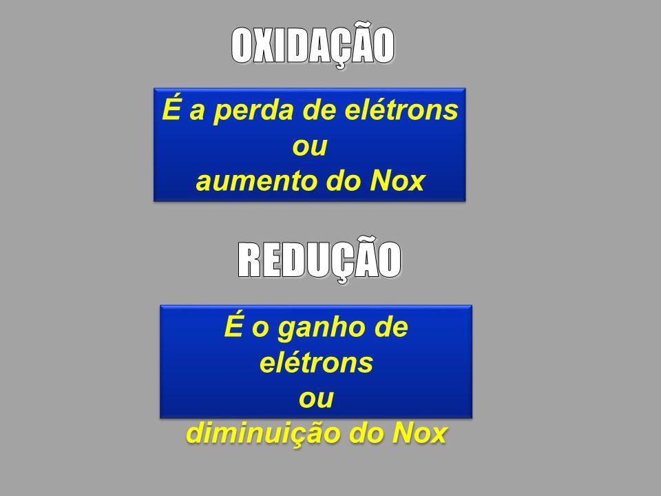 É a perda de elétrons ou aumento do Nox É a perda de elétrons ou aumento do Nox É o ganho de elétrons ou diminuição do Nox É o ganho de elétrons ou di