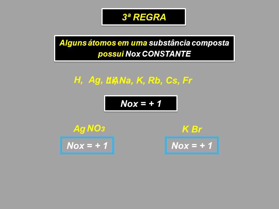 3ª REGRA Alguns átomos em uma substância composta possui Nox CONSTANTE Alguns átomos em uma substância composta possui Nox CONSTANTE Ag, 1A H, Nox = +
