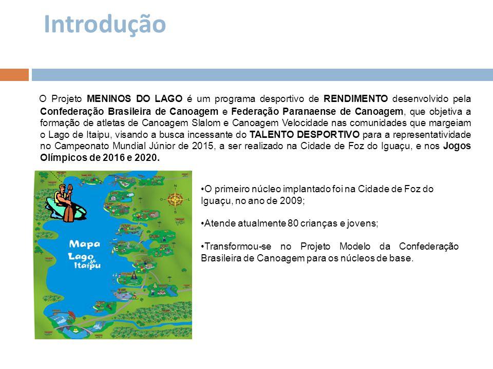 Introdução O Projeto MENINOS DO LAGO é um programa desportivo de RENDIMENTO desenvolvido pela Confederação Brasileira de Canoagem e Federação Paranaen