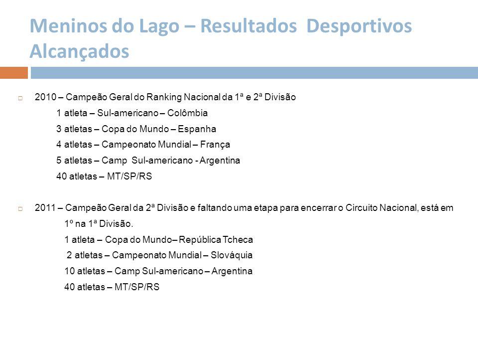 Meninos do Lago – Resultados Desportivos Alcançados 2010 – Campeão Geral do Ranking Nacional da 1ª e 2ª Divisão 1 atleta – Sul-americano – Colômbia 3
