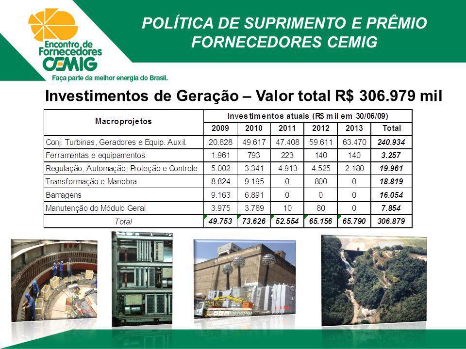 Investimentos de Geração – Valor total R$ 306.979 mil POLÍTICA DE SUPRIMENTO E PRÊMIO FORNECEDORES CEMIG