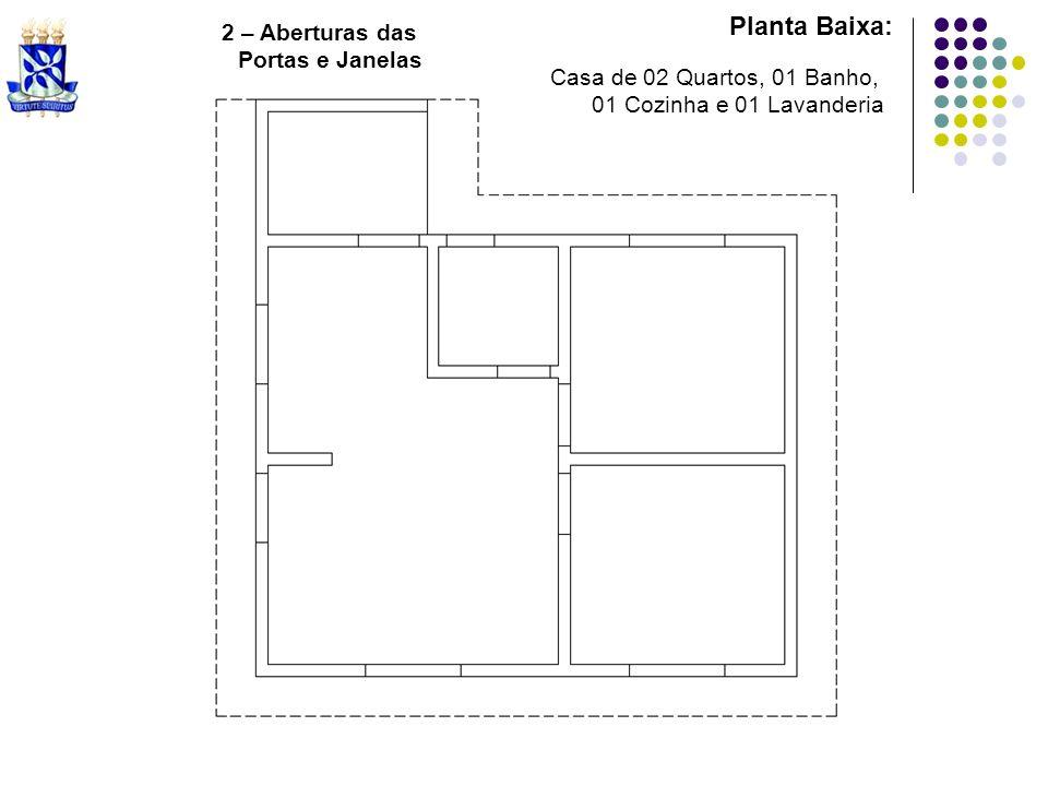 Planta Baixa: Casa de 02 Quartos, 01 Banho, 01 Cozinha e 01 Lavanderia 2 – Aberturas das Portas e Janelas