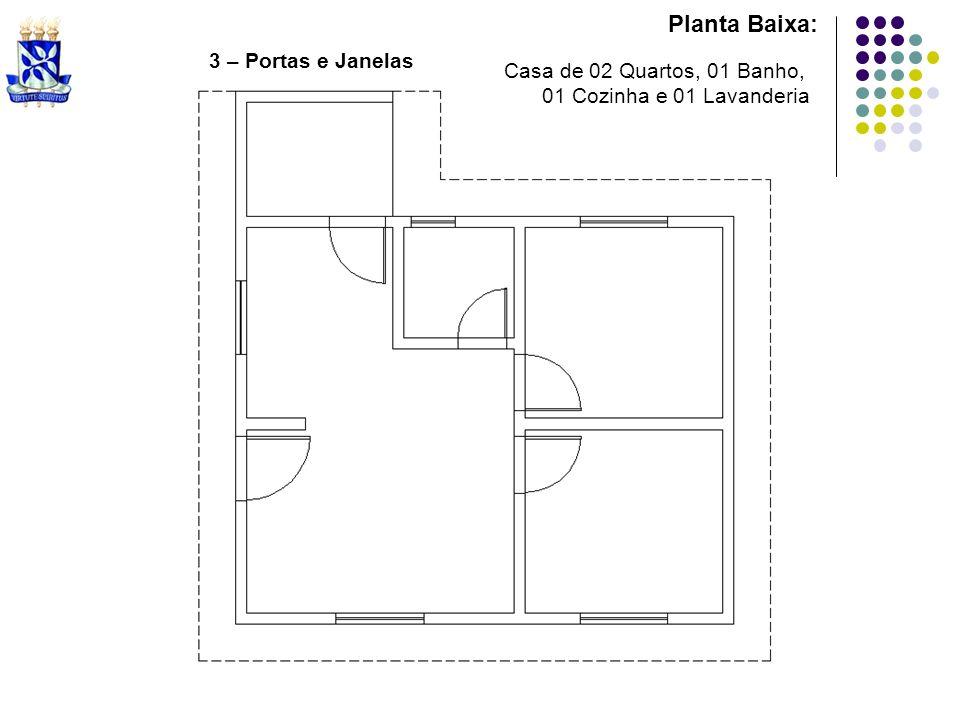 Planta Baixa: Casa de 02 Quartos, 01 Banho, 01 Cozinha e 01 Lavanderia 3 – Portas e Janelas