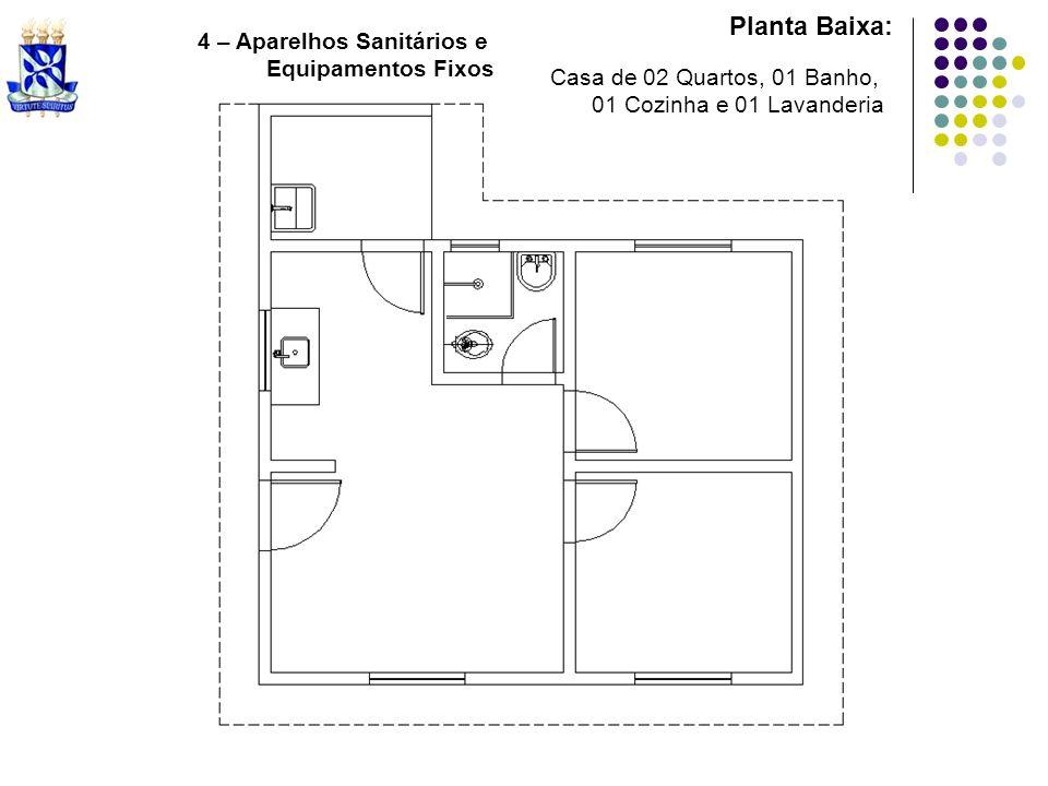 Planta Baixa: 5 – Representar as áreas impermeabilizadas Casa de 02 Quartos, 01 Banho, 01 Cozinha e 01 Lavanderia